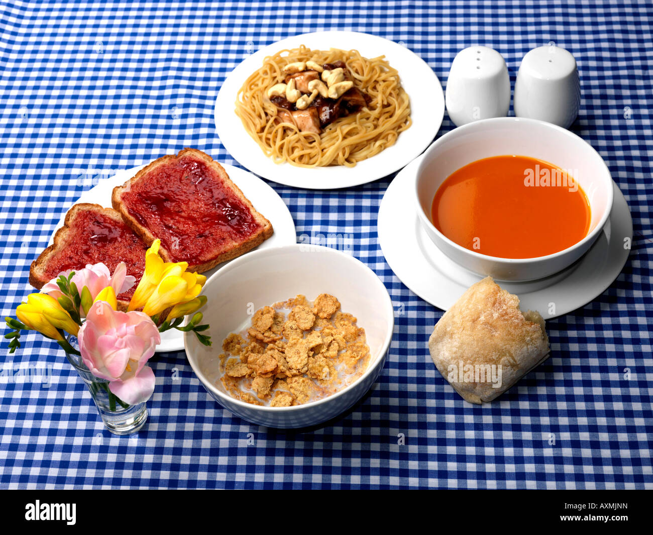 Breakfast and Lunch - Stock Image