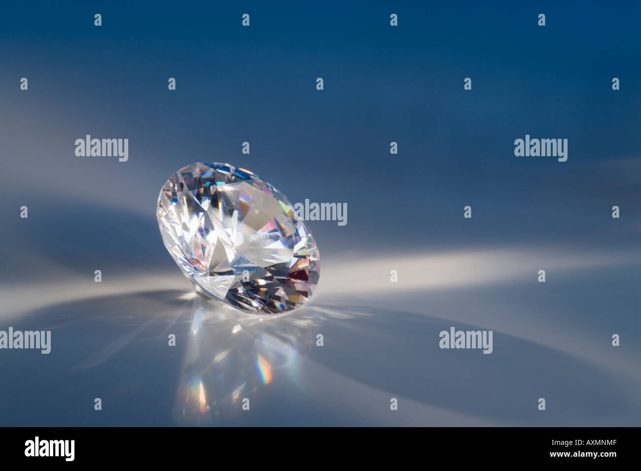 Closeup of a sparkly clear faceted gem - Stock Image