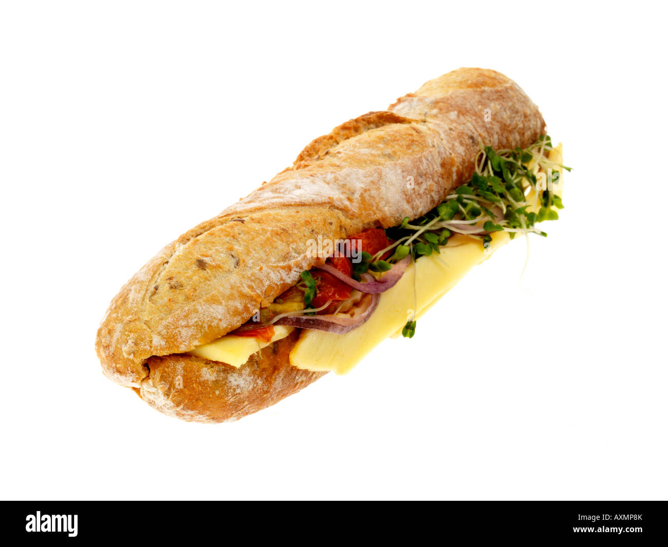 Cheddar Cheese And Pickle Baguette - Stock Image