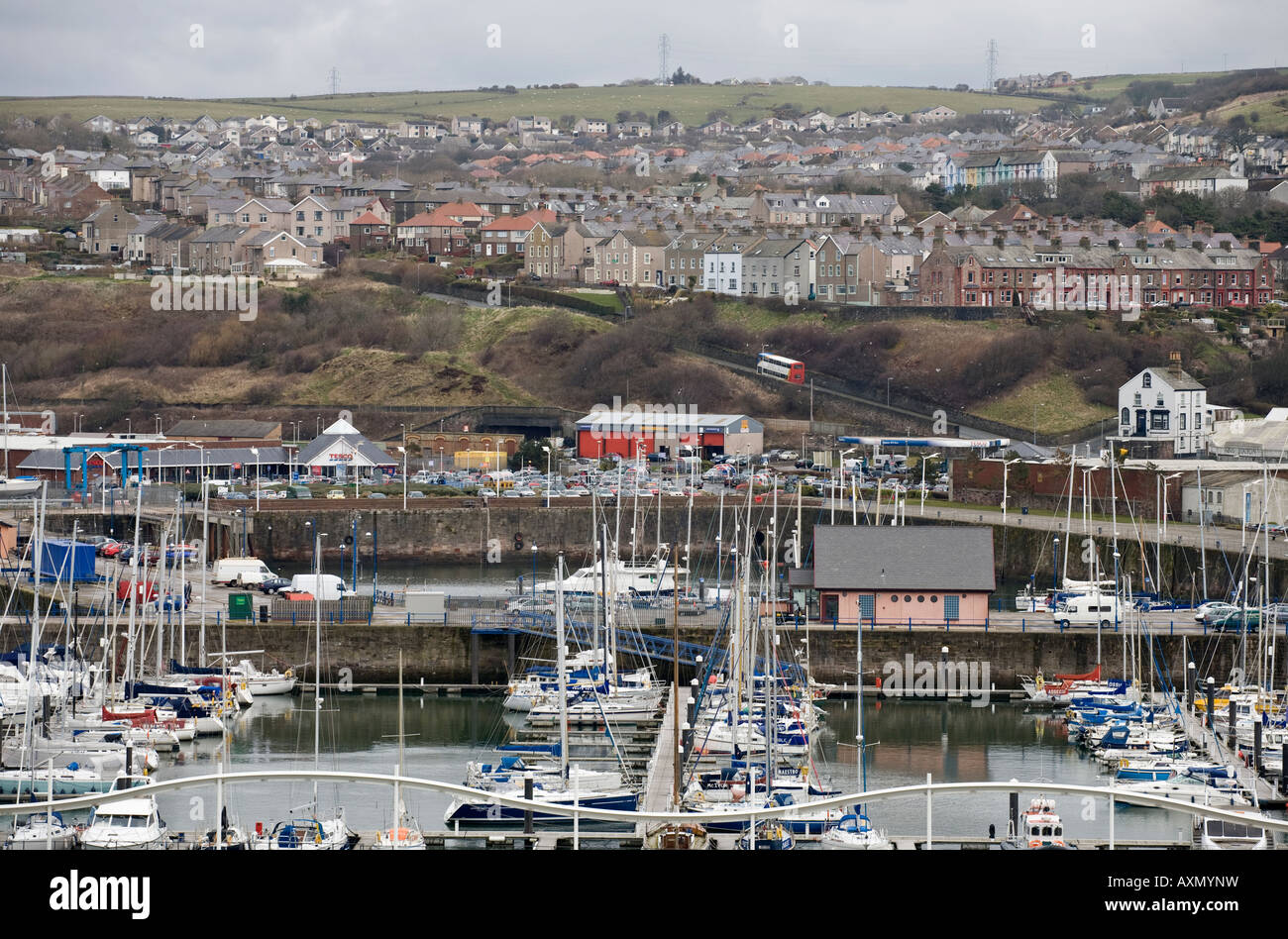 A view of the coastal town of Whitehaven Cumbria England UK - Stock Image