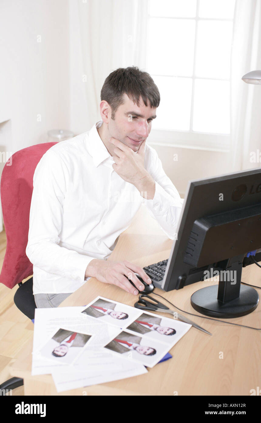 Symbols Of Application A Young Man Is Preparing Documents For An