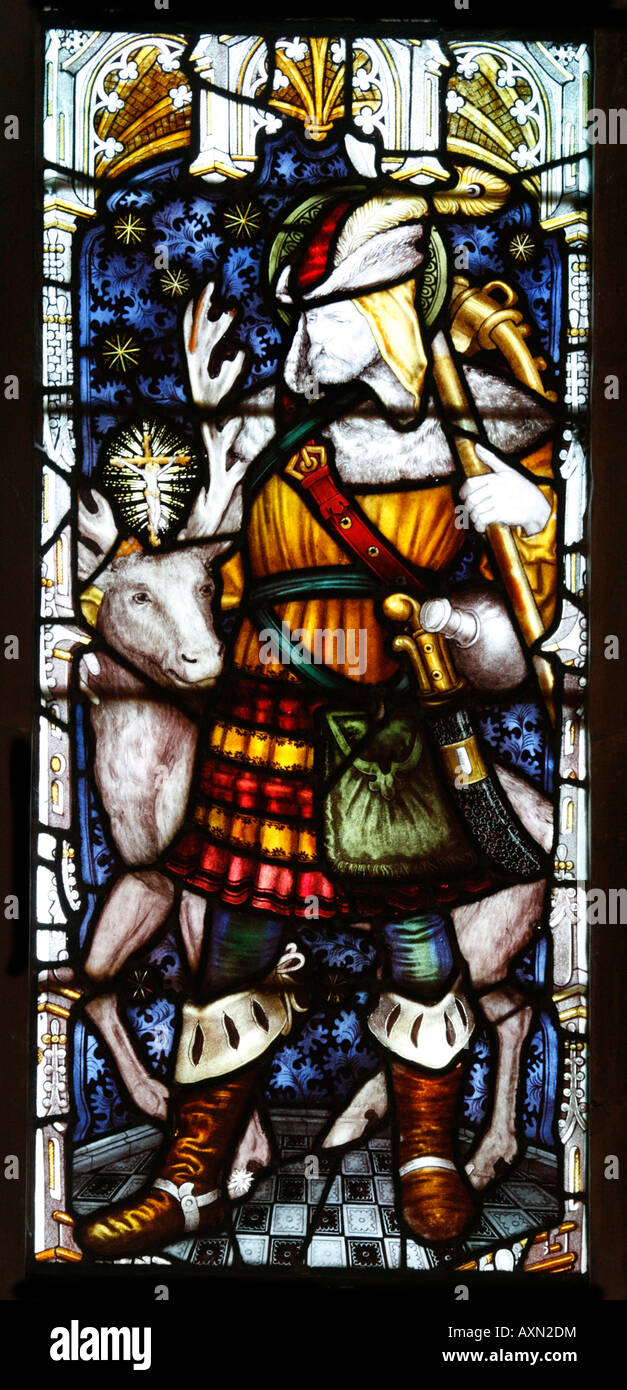 Saint Hubert Patron Saint of Hunters Stained Glass Window by Charles Eamer Kempe - Stock Image