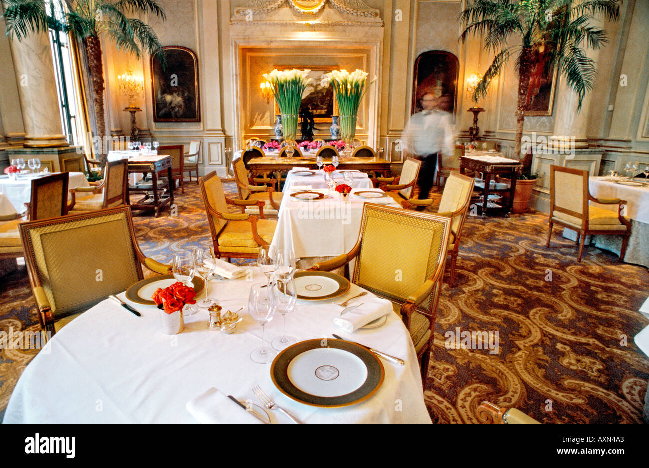 France Paris, Inside Fancy Dining Room, French Restaurant 'Le V' 'Le Cinq' Haute Cuisine, Luxury Hotel Four Seasons George V, european restaurant - Stock Image