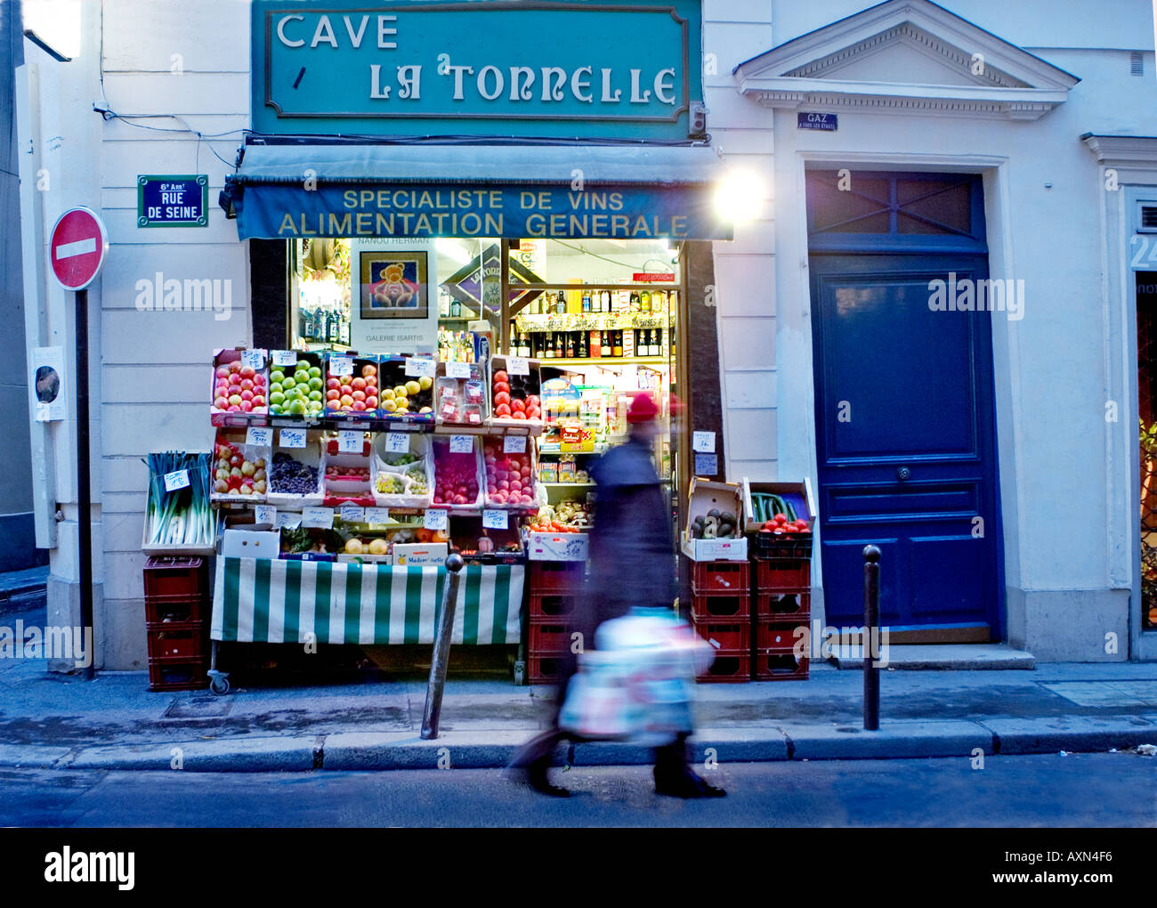 Paris France, Small Business General Store 'Grocery Store', Arab, Night, Street Scene Open Late - Stock Image
