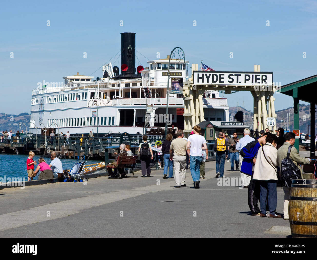 Eureka Ferry at Hyde Street Pier San Francisco CA - Stock Image