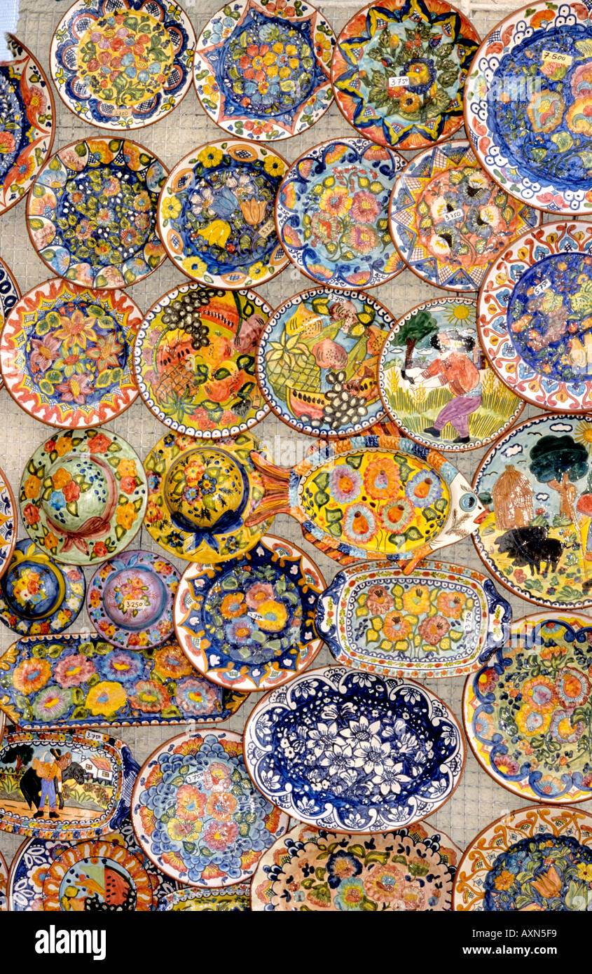 Pottery For Sale In A Tourist Souvenir Shop In Sintra In