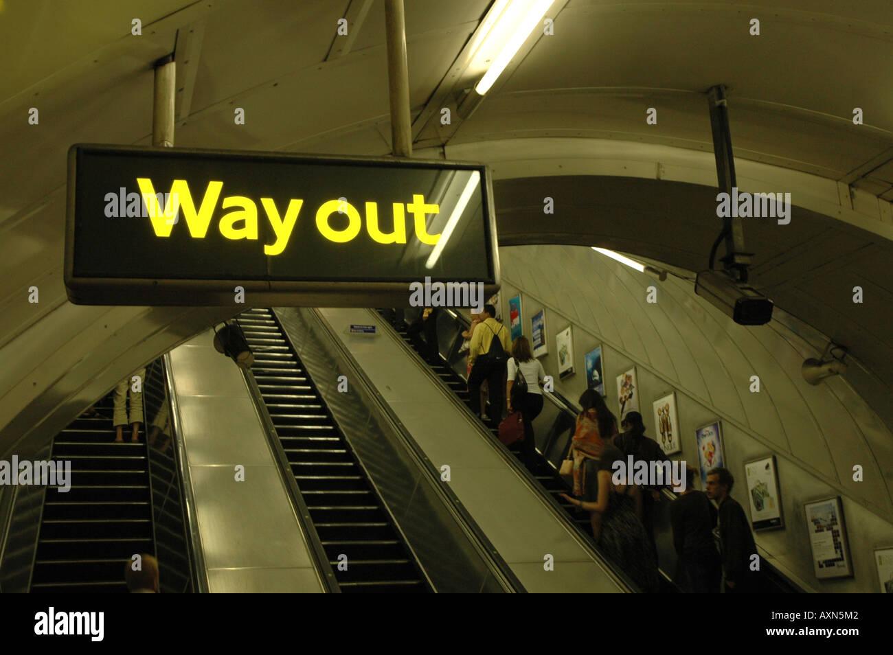 escalator on Bond Street underground tube station in London, UK - Stock Image