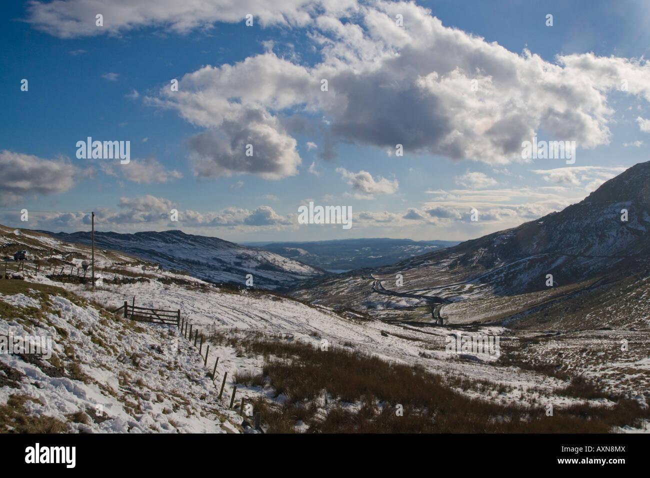 The road from Ambleside to Kirkstone Pass in Easter snow - Stock Image