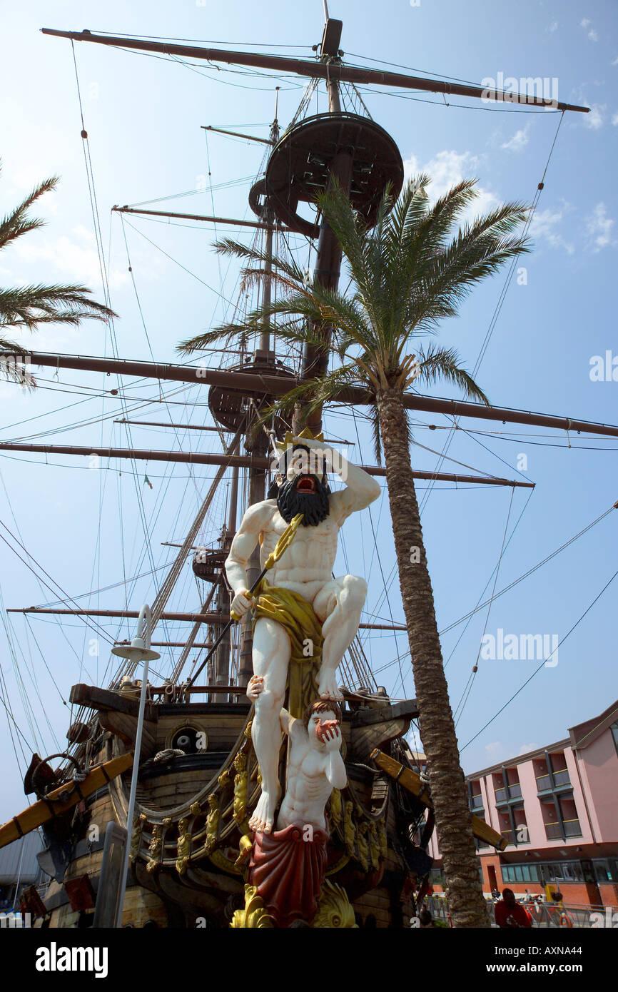 Italy Liguria Genoa Genova Harbour Ship used in Roman Polanski s Pirates - Stock Image