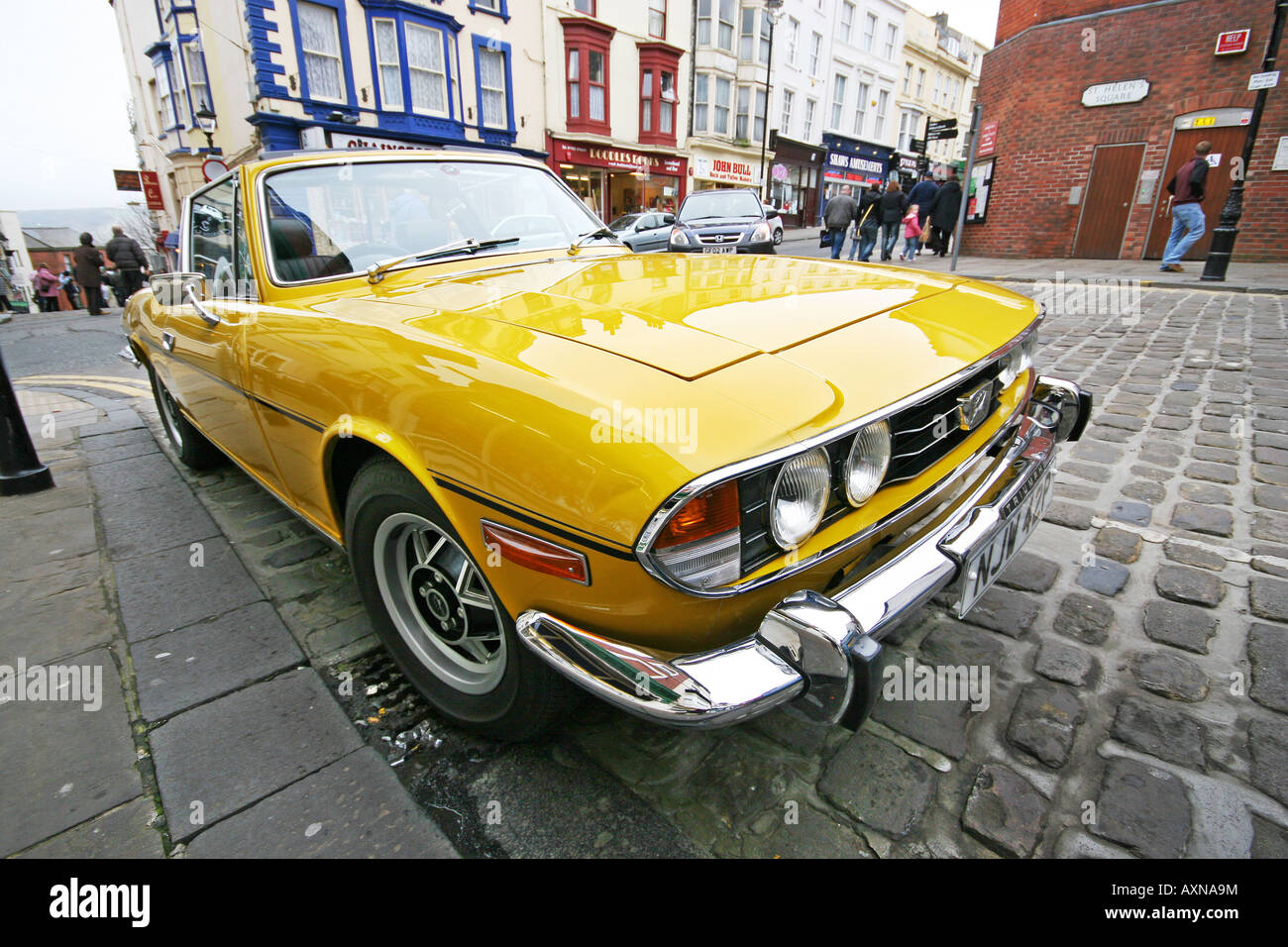 Restored Triumph Stag Sports Car In Scarborough With Wide Angle Lens Stock Photo Alamy