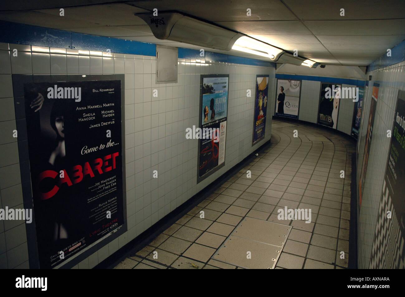 Underground passage to London tube station - Stock Image