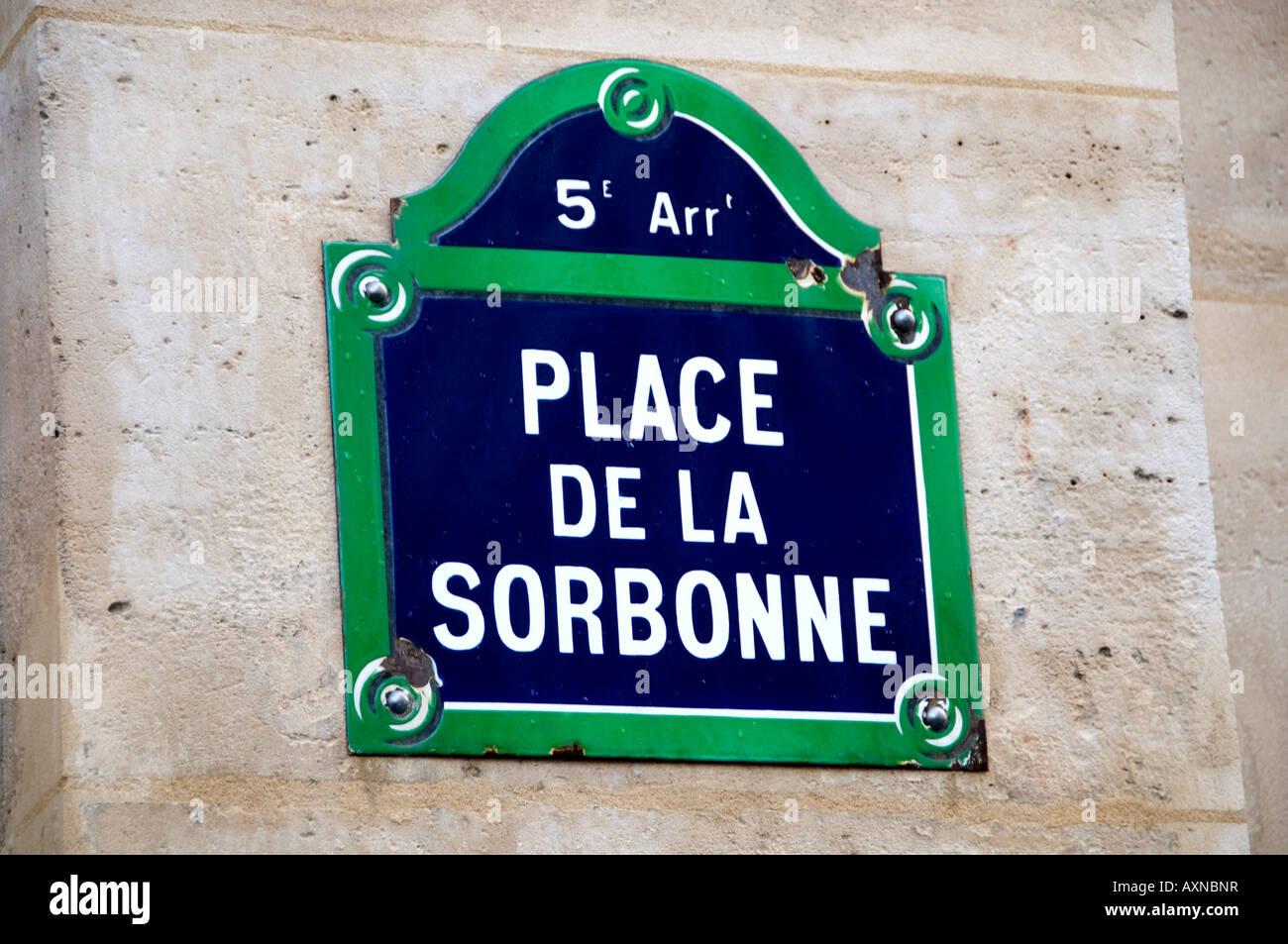 Sorbonne university of paris place la Sorbonne - Stock Image