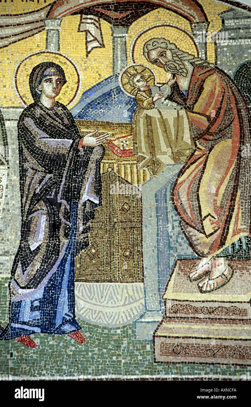 Mosaics in a church Thira Santorini The Cyclades Greece - Stock Image