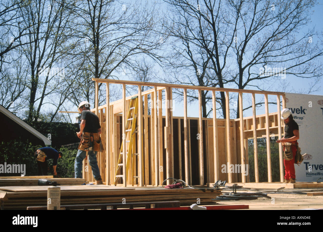 WORKERS Deerfield Illinois Construction of wood frame house 3 Stock ...