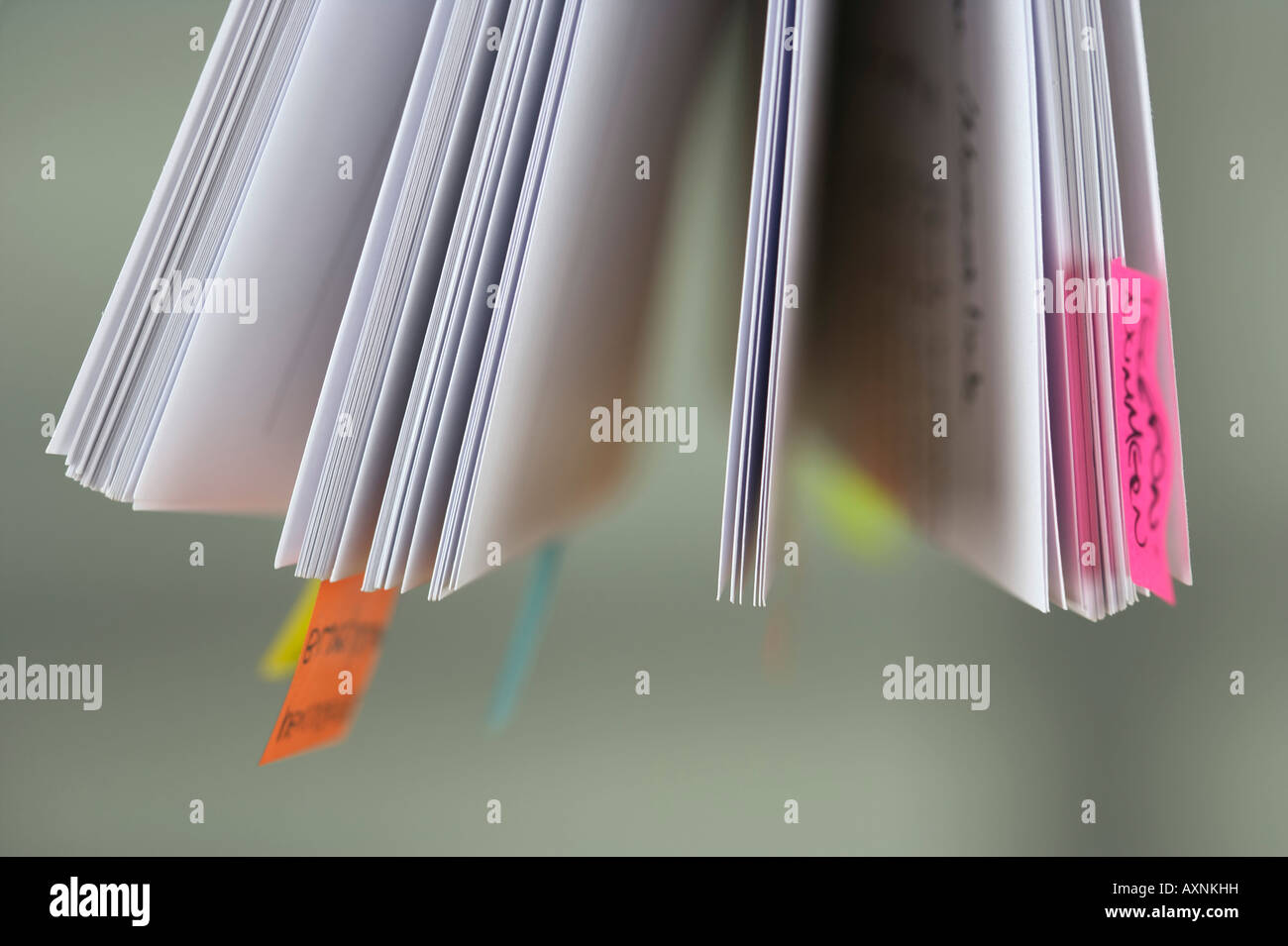 Post-it notes at documents - Stock Image