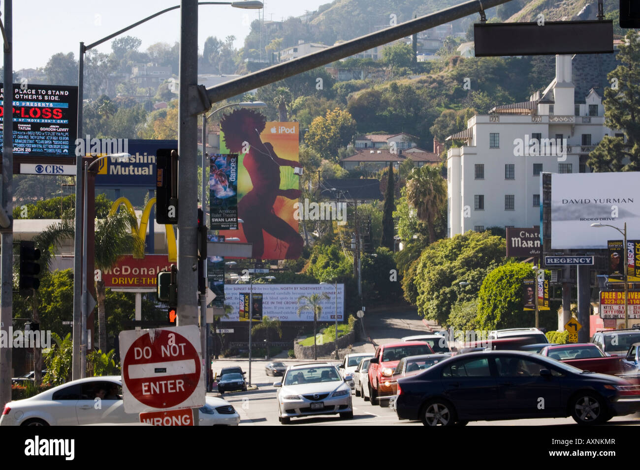 Billboards And Traffic Sunset Strip Hollywood Los Angeles