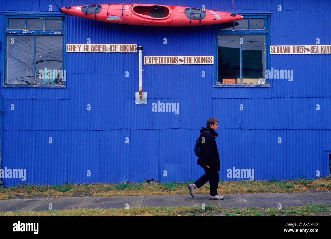 Sport and Adventure Travel Agency . Puerto Natales . Patagonia. Chile, South America. - Stock Image