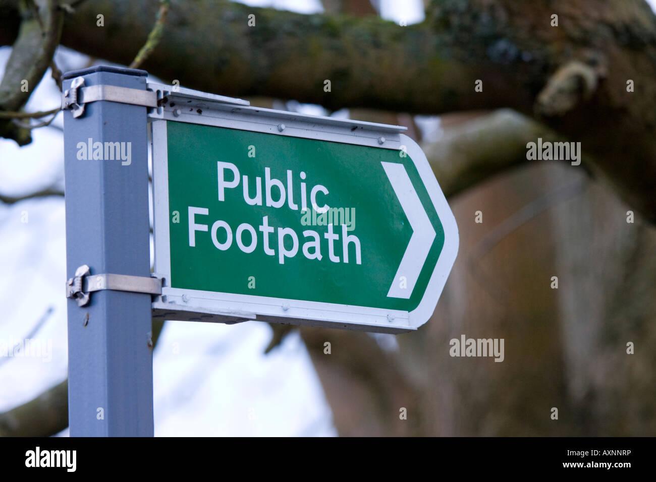 Public footpath sign UK - Stock Image