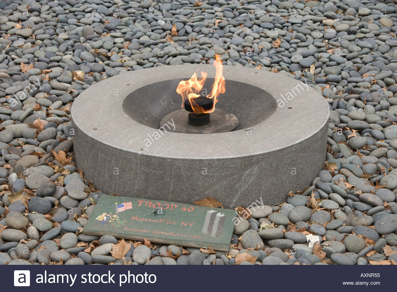 eternal flame in memory of the September 11 2001 victims Battery Park New York city - Stock Image