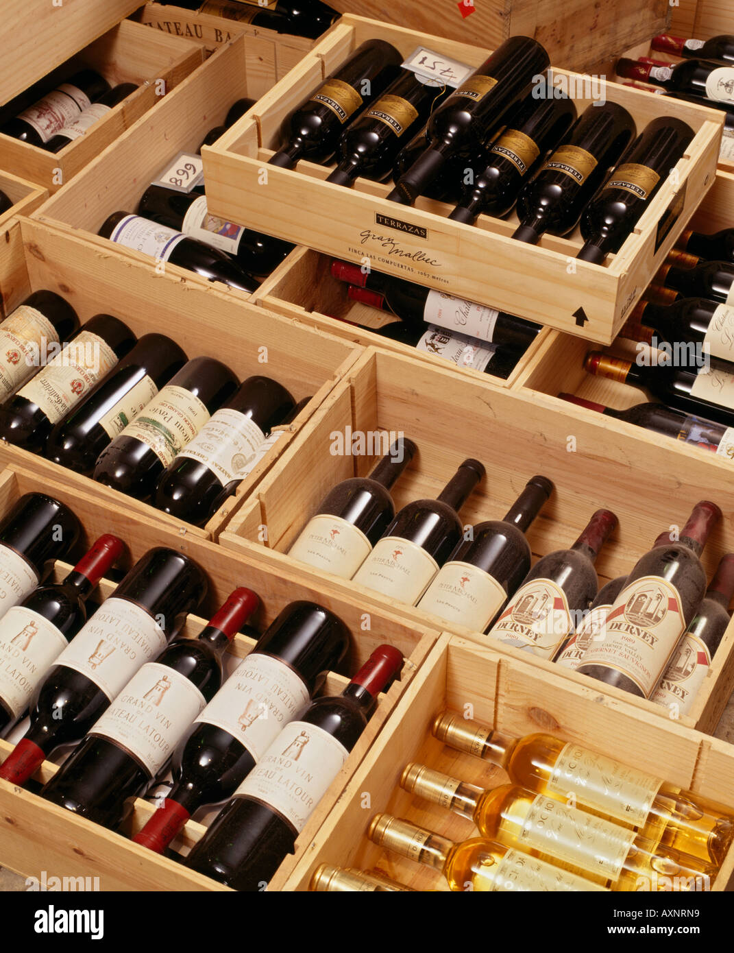 Cases of wine laid out in the cellar of Hotel du Vin Bristol Stock ...