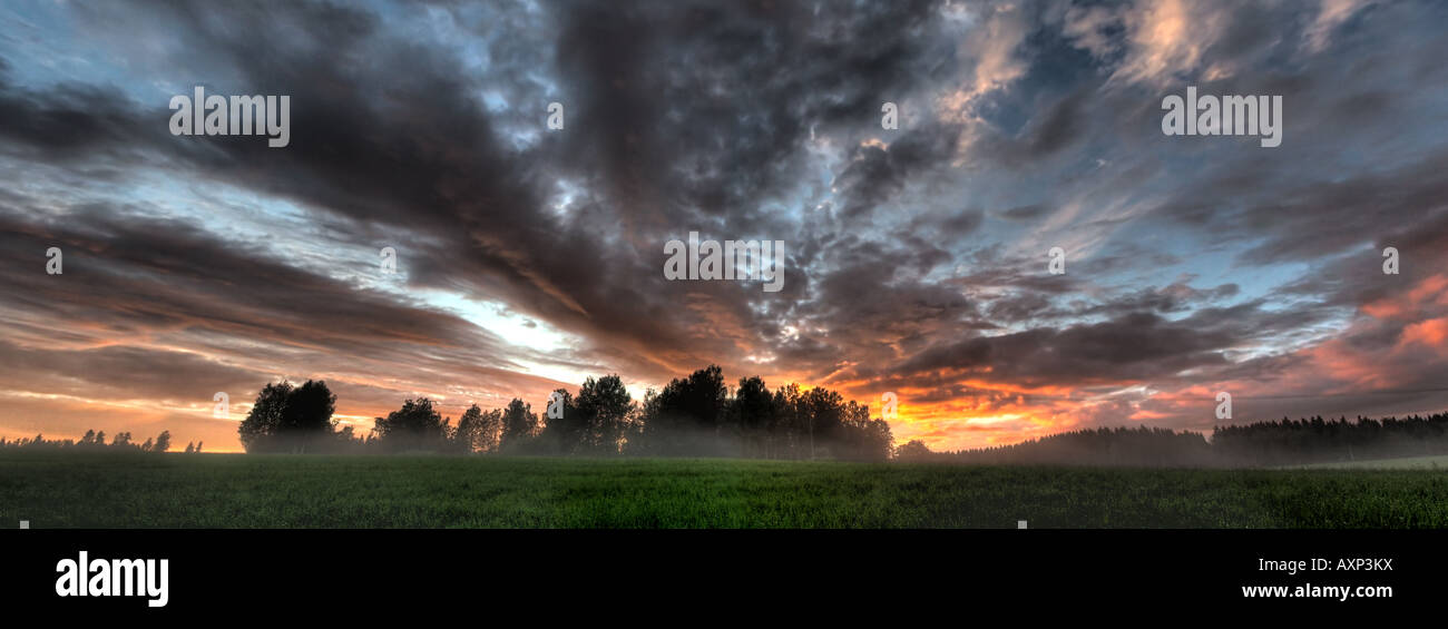 Sunset in hdr panorama - Stock Image