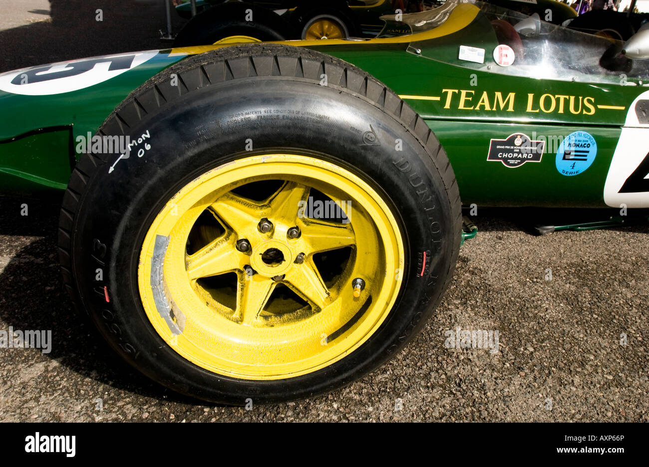 vintage formula one F1 racing car Lotus classic power with yellow wheels in British  Racing Green Team Lotus tyre tire