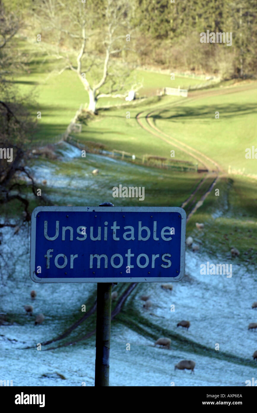 Unsuitable for Motors Sign, Winter Cotswolds - Stock Image
