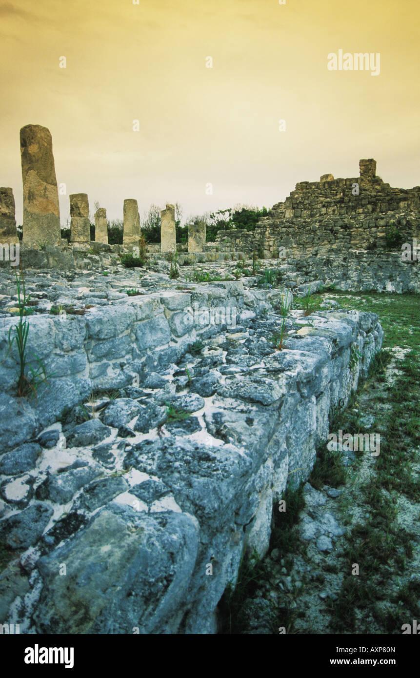 Mayan ruins of El Rey in Cancun Quintana Roo Mexico - Stock Image