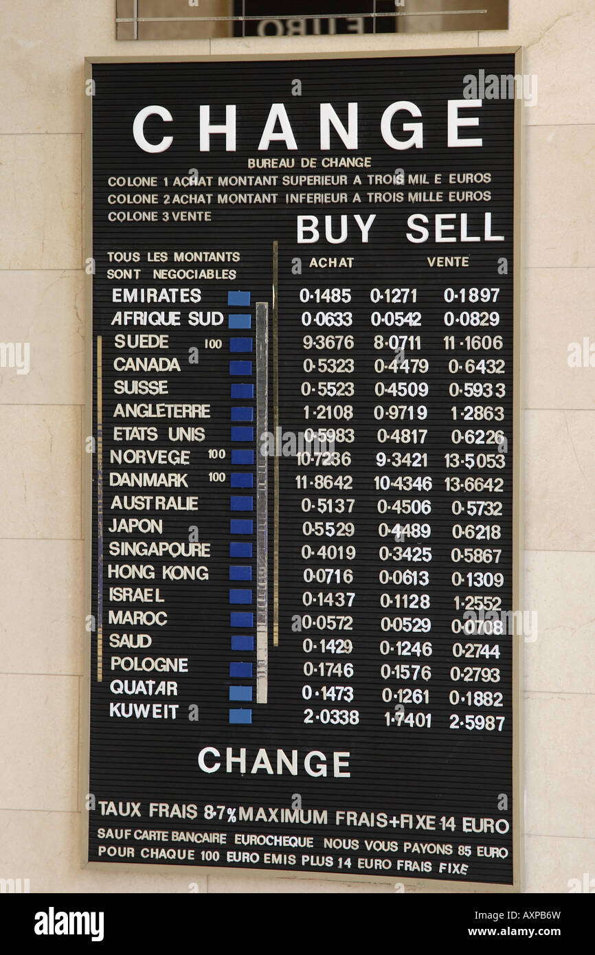 Currency Change Board Paris France Stock Photo Alamy