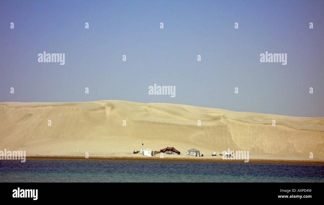 Tents at Khor al Udaid, inland sea, Qatar - Stock Image