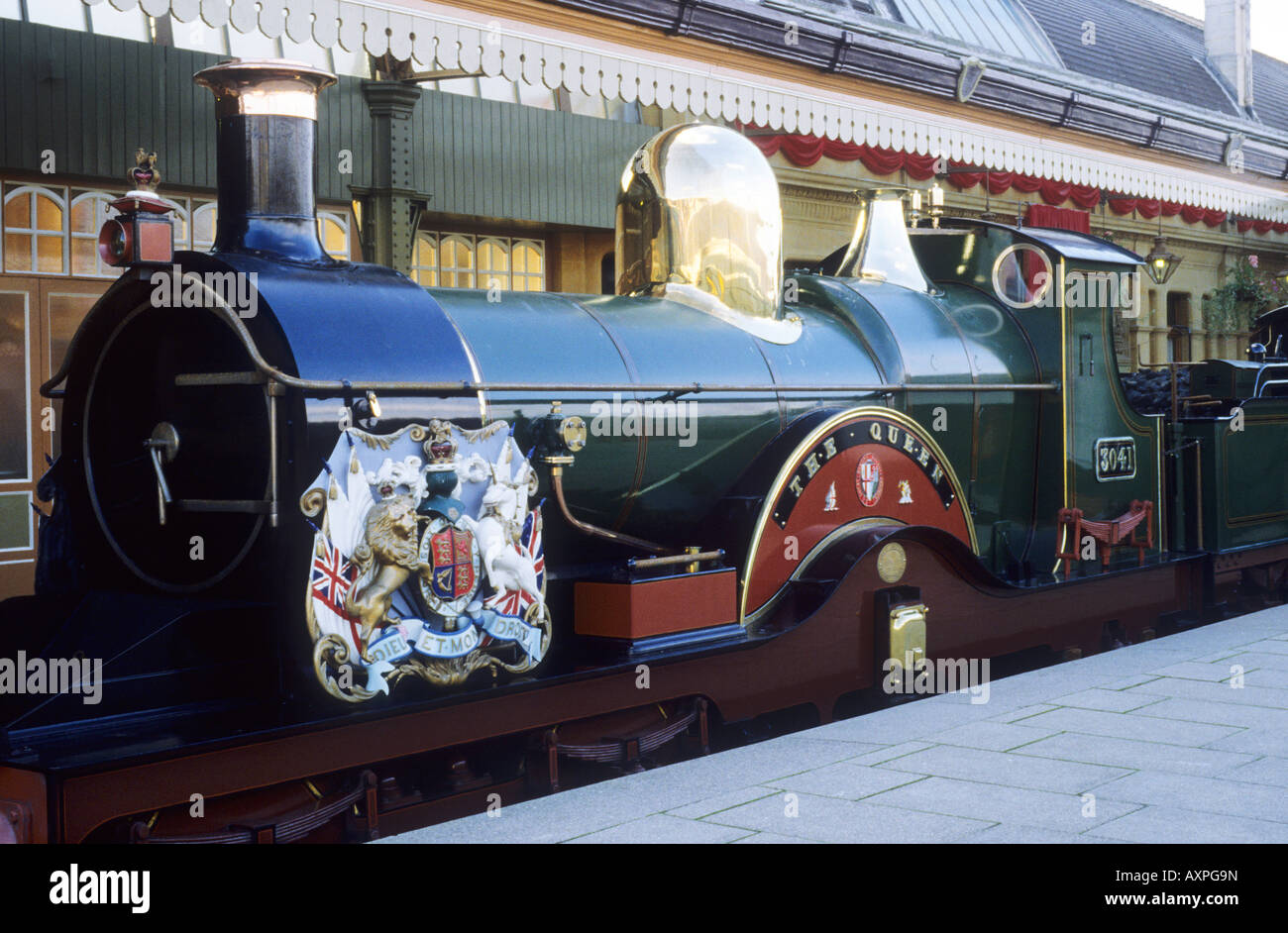 Windsor Royalty and Empire Exhibition Royal Train steam engine Windsor and Eton Railway Station Berkshire England - Stock Image