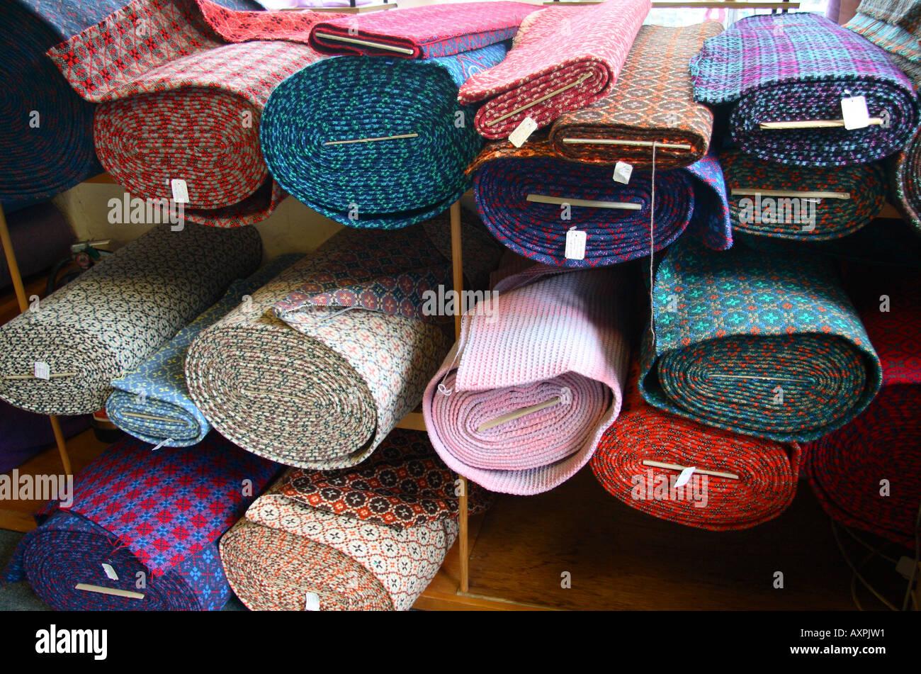 Interior Textiles Shop Trefriw Woollen Mill North West Wales Stock Photo