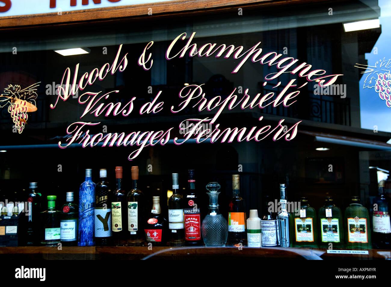 Marais near Places des Vosges Alcools & Champagnes Paris France Paris France - Stock Image