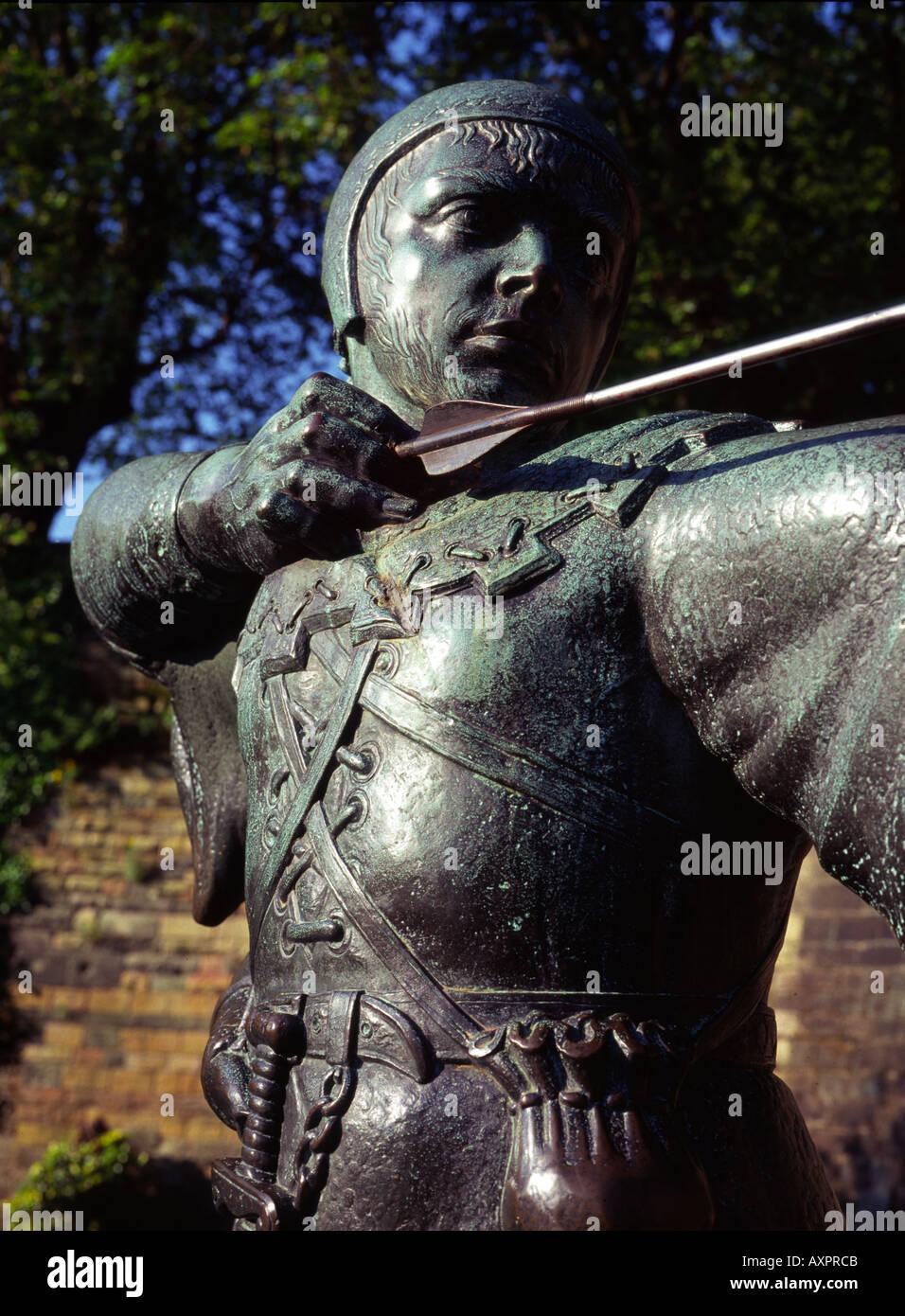 UK Nottingham Robin Hood statue - Stock Image