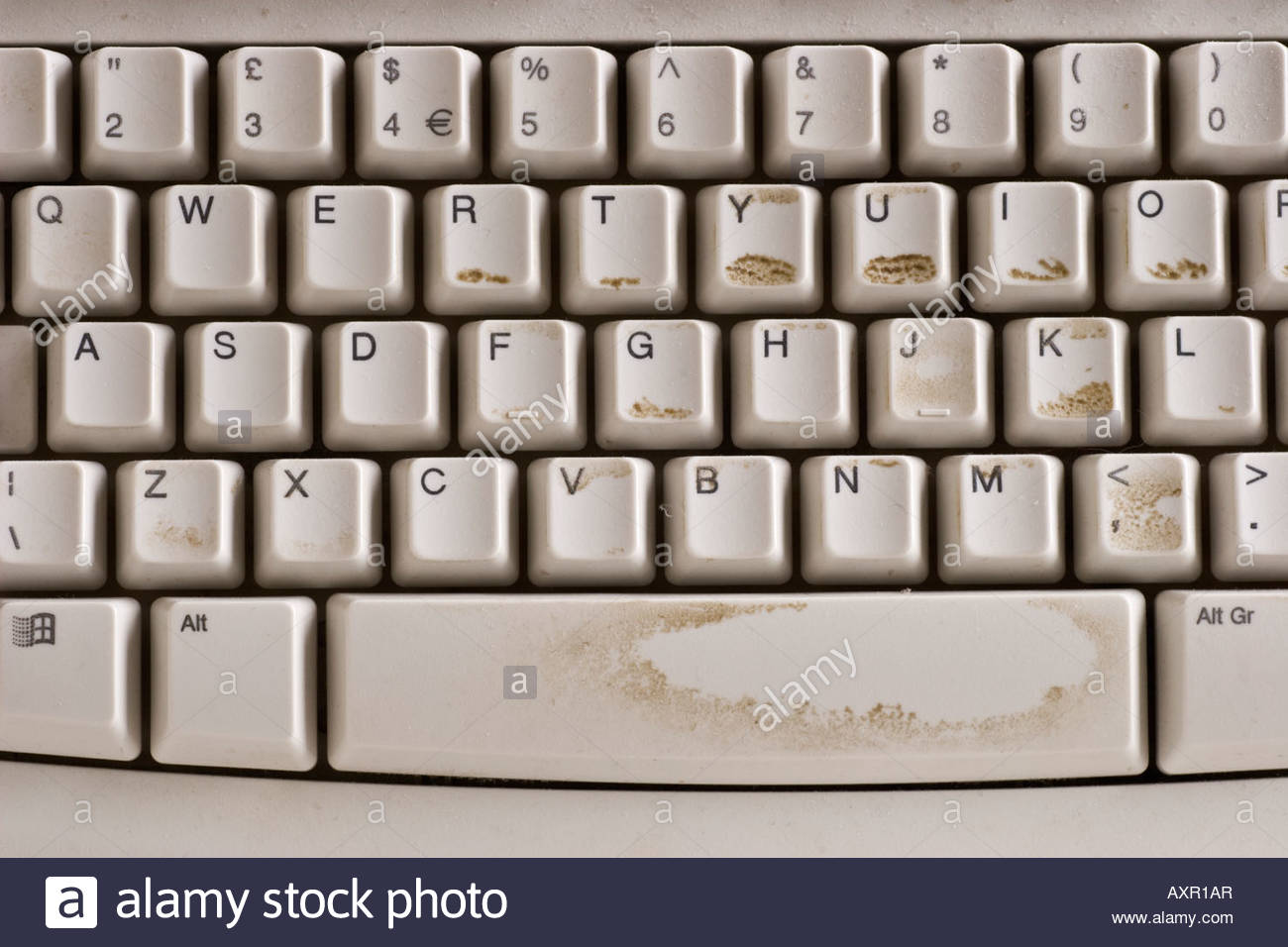 Dirty computer keyboard. - Stock Image