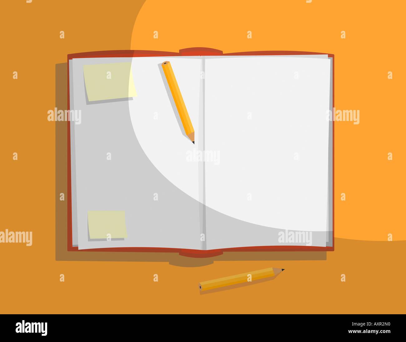 Open book illustration - Stock Image