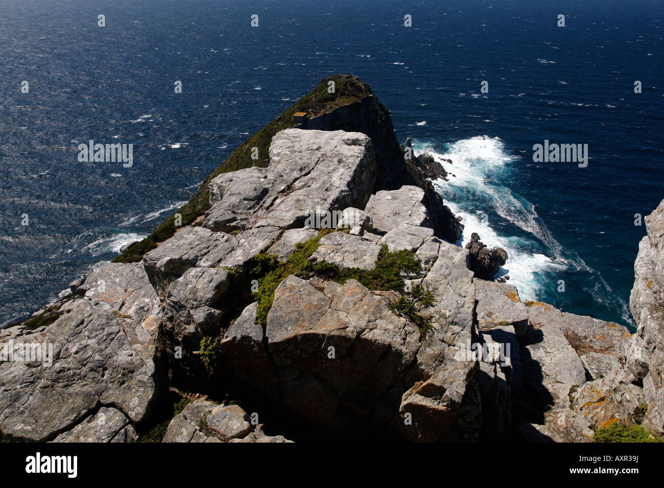 overlooking cape point from the lighthouse part of the table mountain national park cape town western cape province Stock Photo