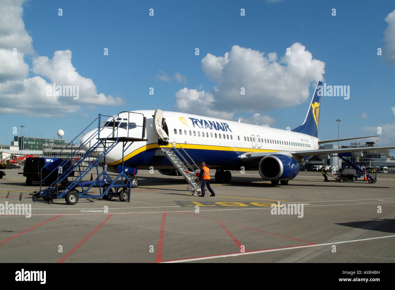 Ryanair Boeing 737 800 Jet aircraft at Dublin International Airport Ireland - Stock Image