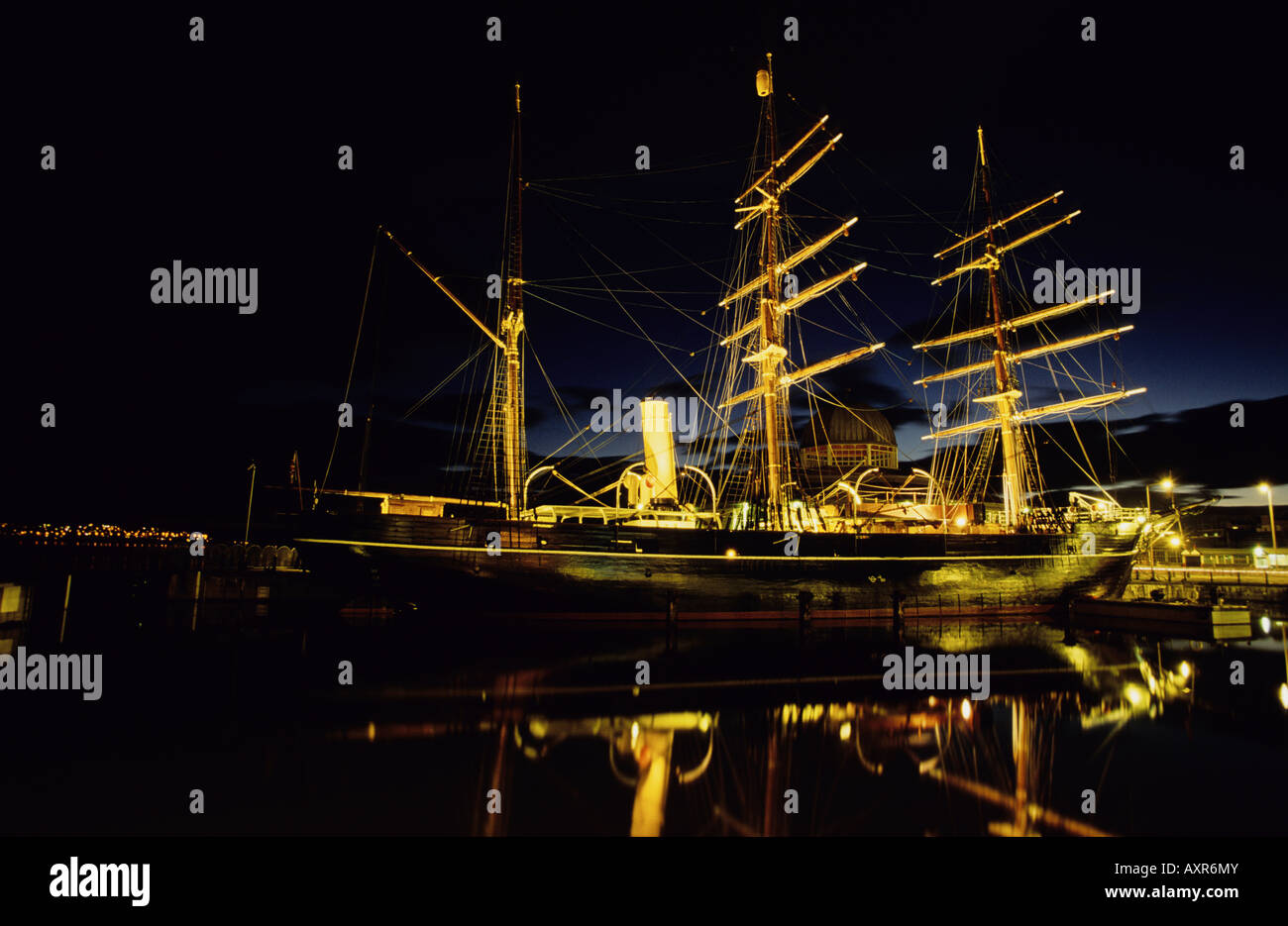 RRS Discovery at night, Discovery Quay, Dundee, Scotland - Stock Image