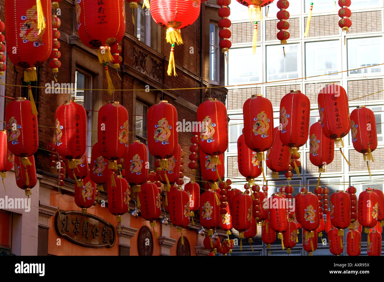 Chinese New Year lantern decorations in Chinatown, London ...