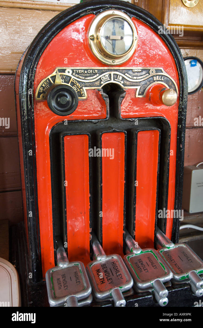 Token system at the signal box at Bridgnorth Railway Station on the Severn Valley Railway - Stock Image