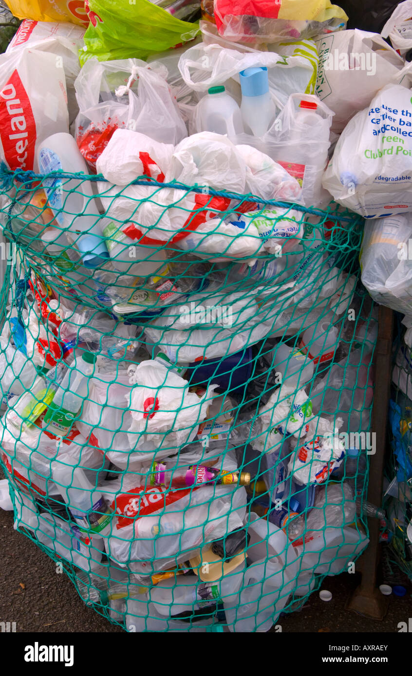 Plastic recycling bank at car park in Abergavenny Monmouthshire South Wales UK EU - Stock Image