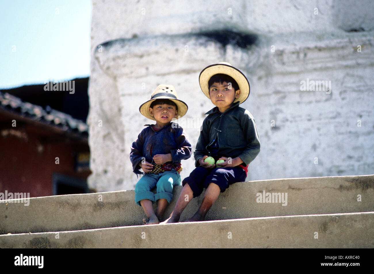 Two Ixil boys Chajul Central Highlands Guatemala - Stock Image