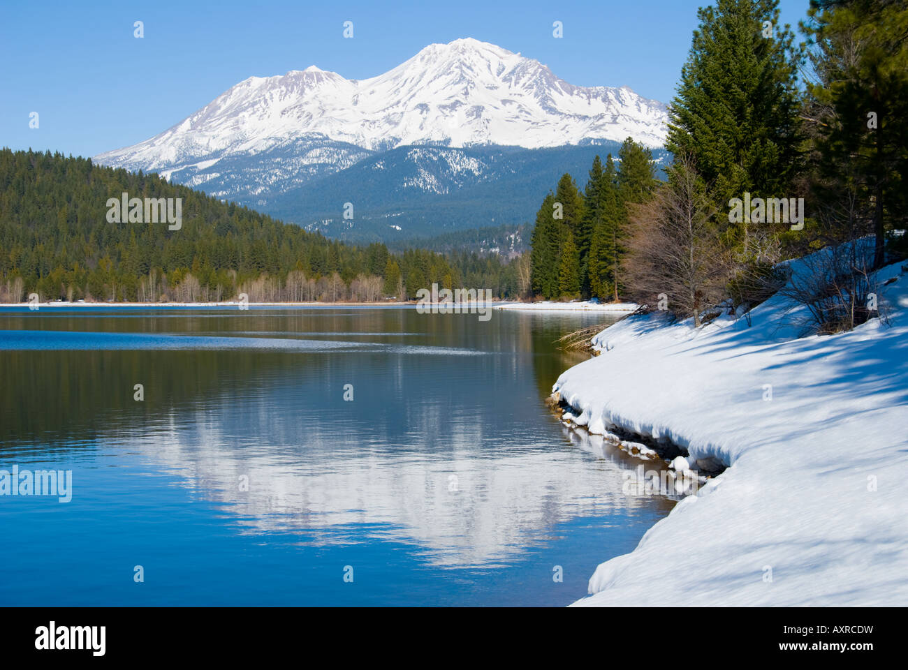 Snowy mountain in Northern California - Stock Image