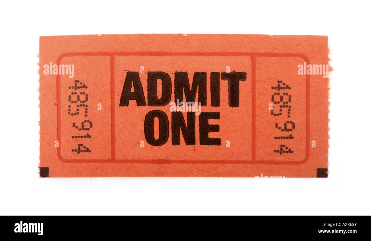 Admission ticket to an event isolated on white - Stock Image