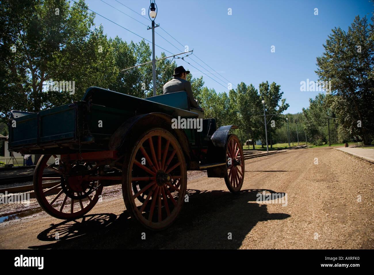 Man driving vintage car Stock Photo