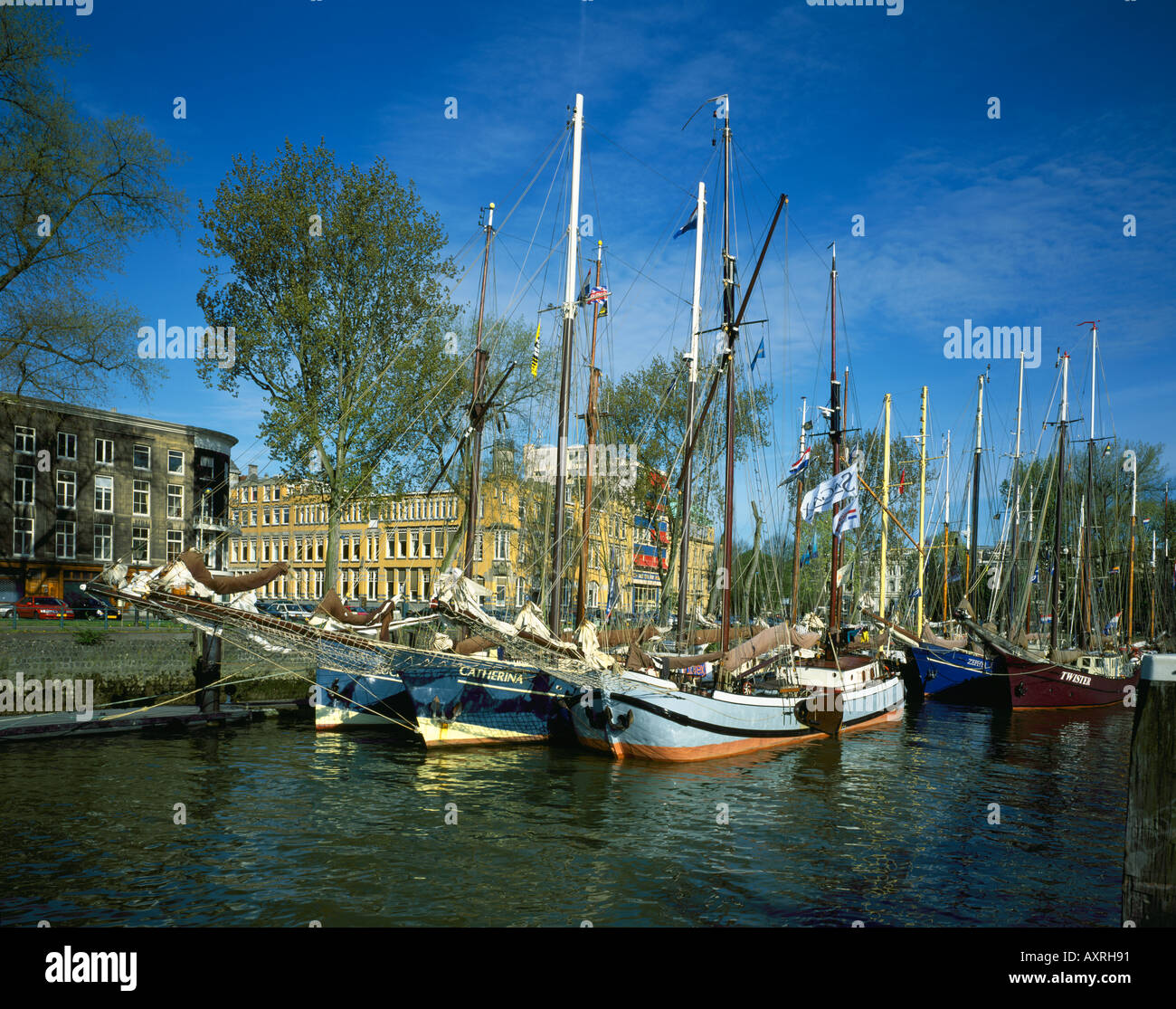 Traditional saling boat in the Old Harbour at Rotterdam Holland - Stock Image