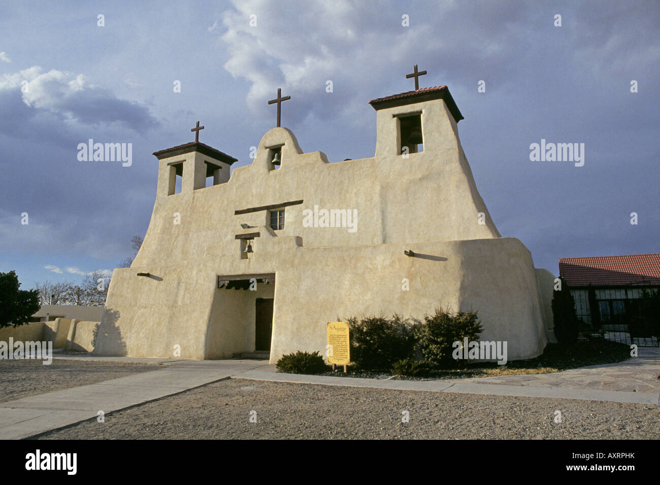 A view of St Augustine catholic church and mission on the Isleta Indian Reservation near Albuquerque Stock Photo
