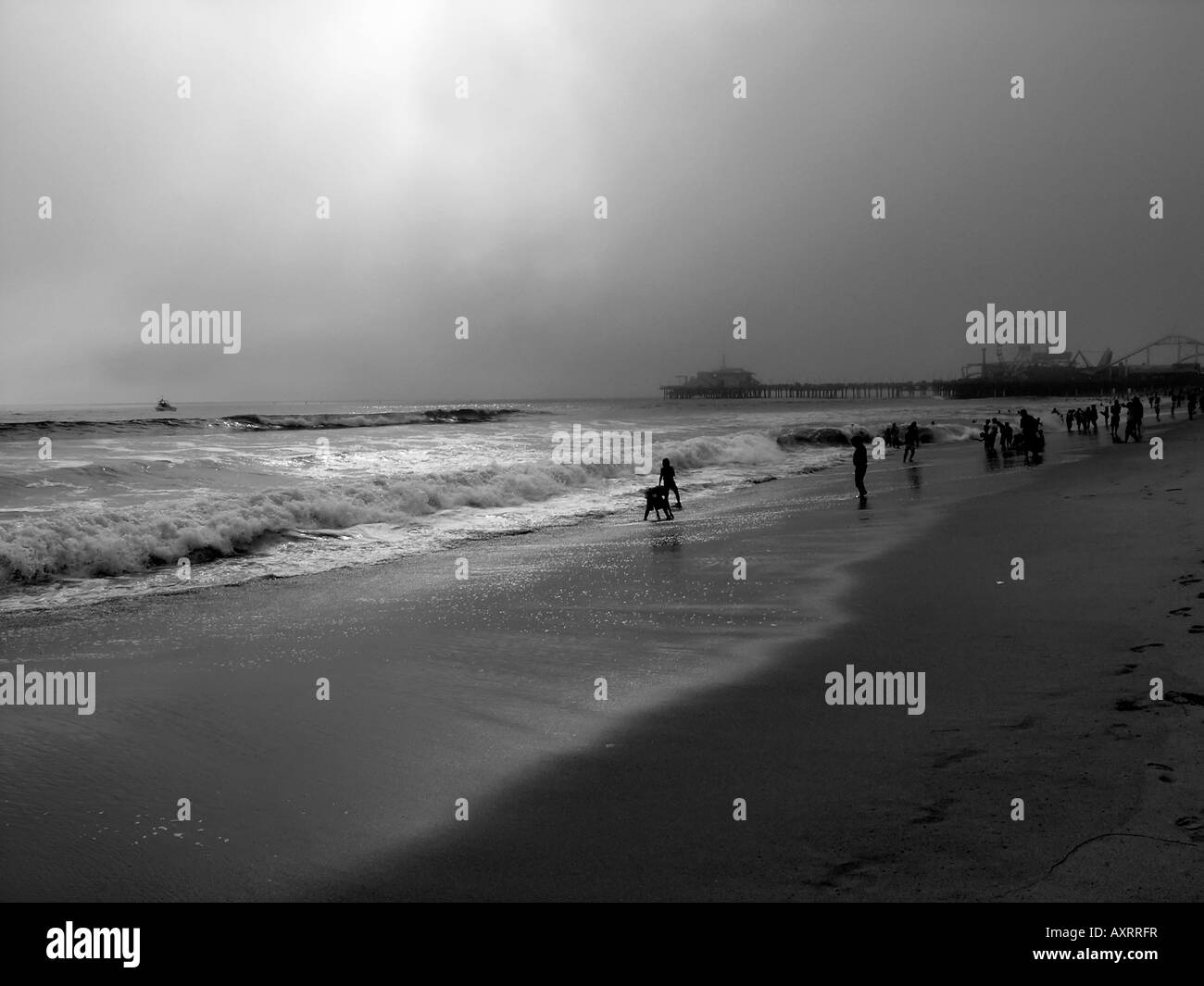 Beach near the Pier Santa Monica California USA people trying to enjoy and overcast day It is also known as marine - Stock Image