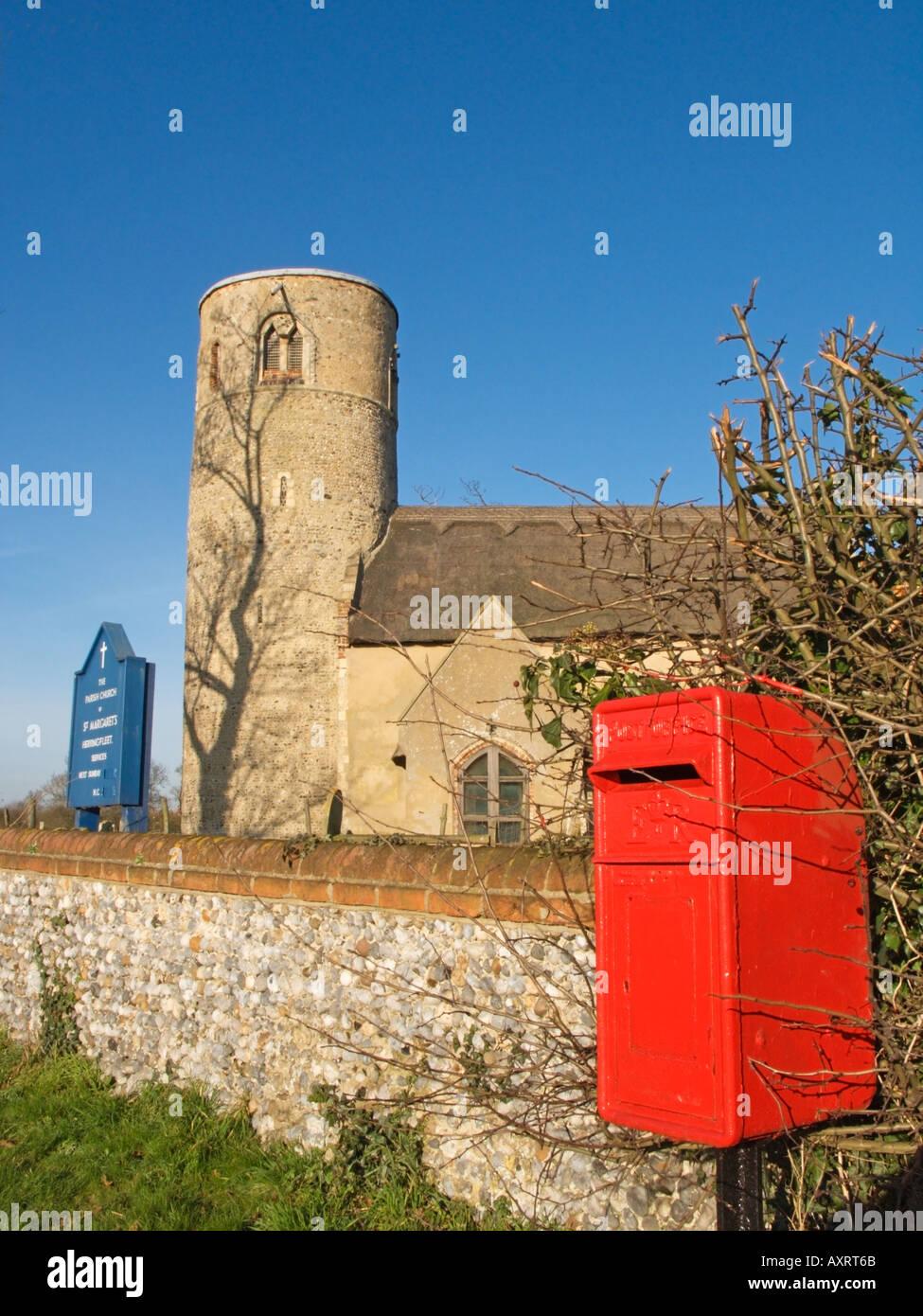 Stone Designed in the surrounding walls of The Parish Church of St Margaret s Herringfleet Suffolk England GB Stock Photo